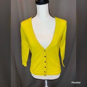 J crew yellow cardigan sweater xs